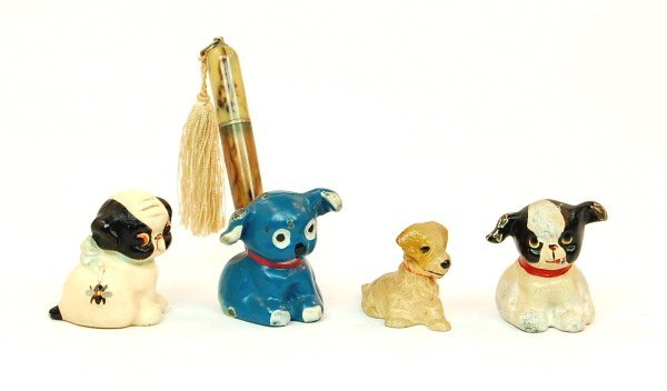 141: 4 Dog paperweights