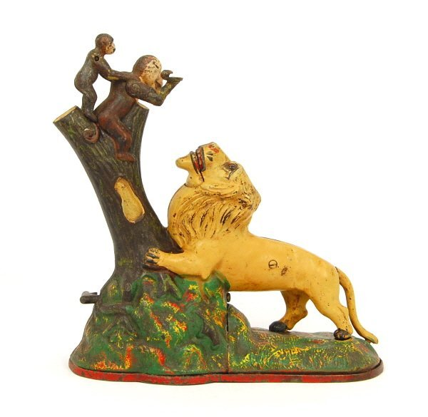 220: Lion and Two Monkeys mechanical bank