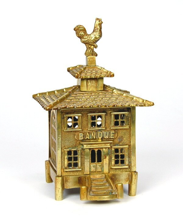 "401: ""Banque"" with Rooster Finial building bank"