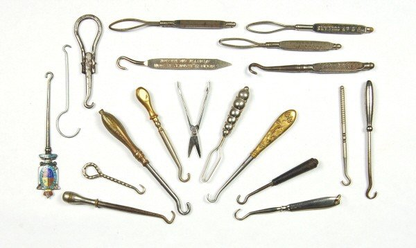 9: Lot of 19 metal items, 18 are Button Hooks.