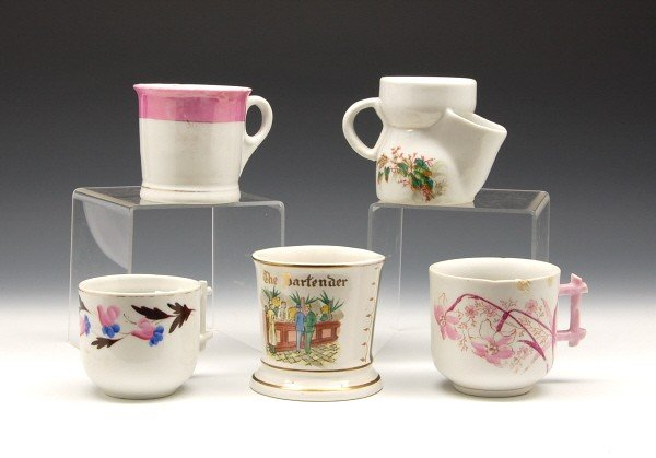 13: Lot of 5 china cups, most are Moustache cups.