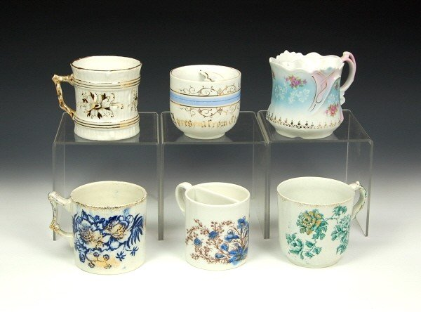15: Lot of 6 china Moustache cups.