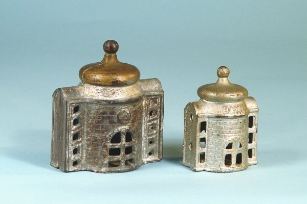 406: Lot of 2 Cast Iron Buildings Banks