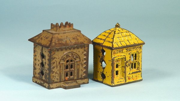 407: Lot of 2 Cast Iron Buildings Banks