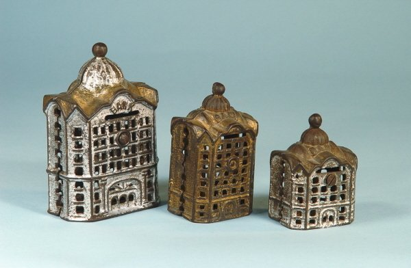 408: Lot of 3 Cast Iron Building Banks