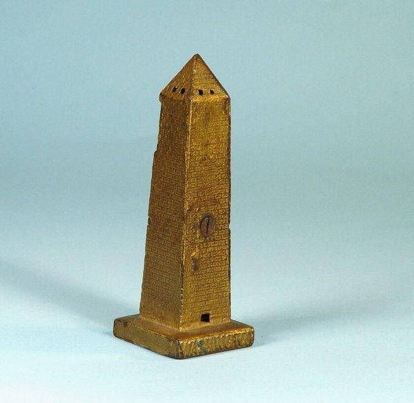 416: Small Washington Monument Cast Iron Bank