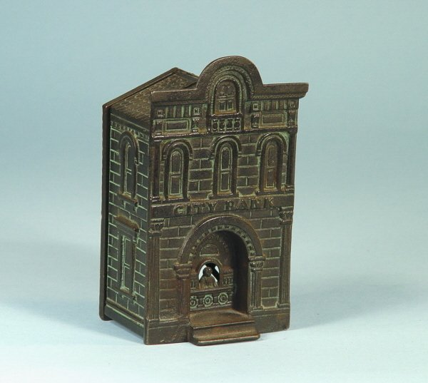 """417: """"City Bank"""" with teller Cast Iron Building Bank"""