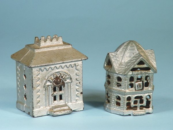 420: Lot of 2 Cast Iron Building Banks