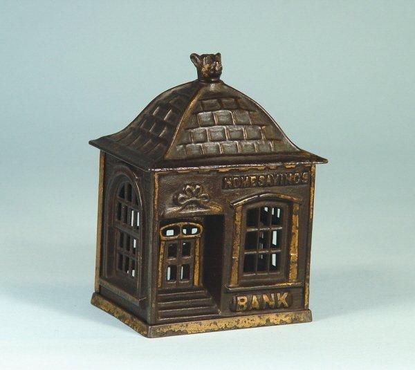 "421: ""Home Savings Bank"" Cast Iron Building Bank"