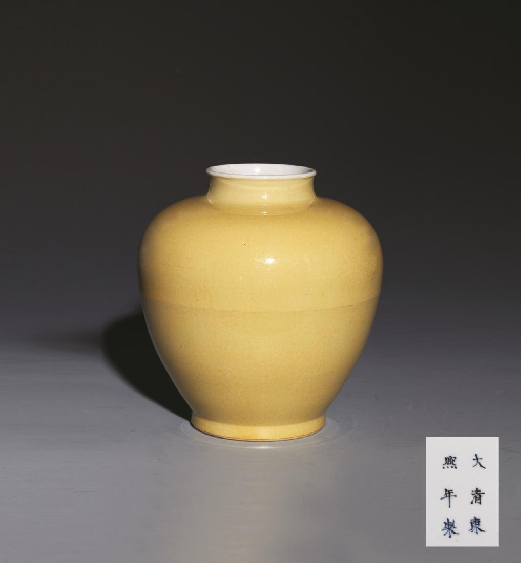 QING KANG XI YELLOW GLAZE JAR