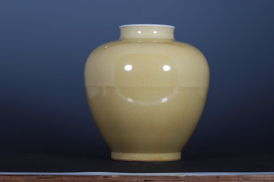 QING KANG XI YELLOW GLAZE JAR - 4