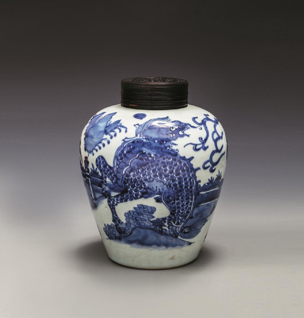 MING CHONG ZHEN BLUE & WHITE ANIMAL JAR