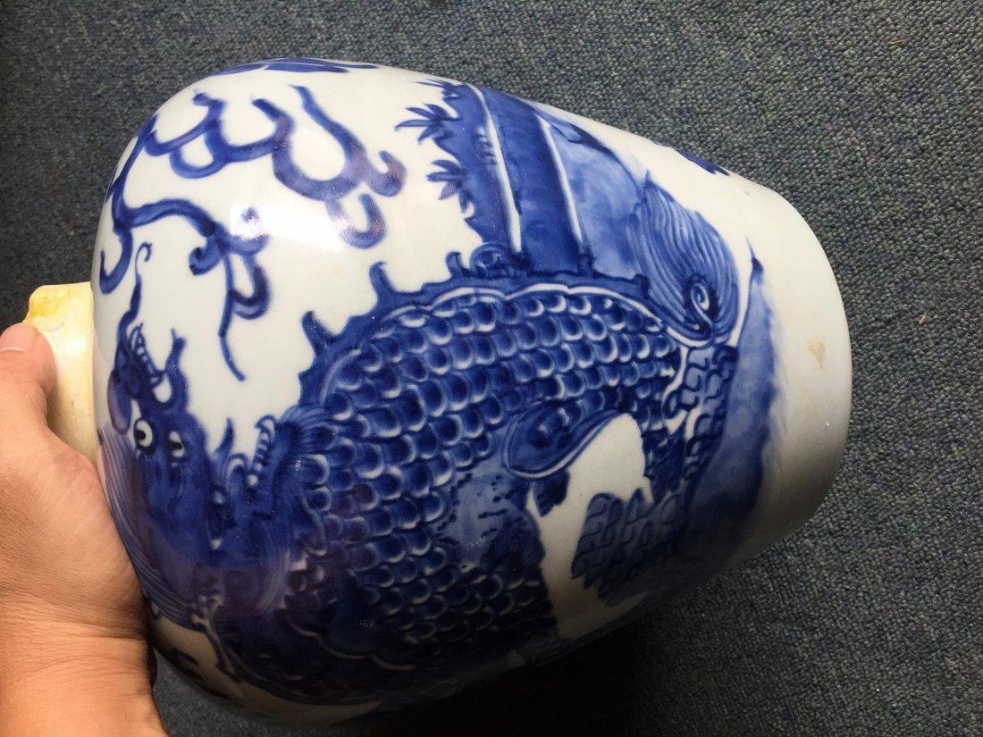 MING CHONG ZHEN BLUE & WHITE ANIMAL JAR - 7
