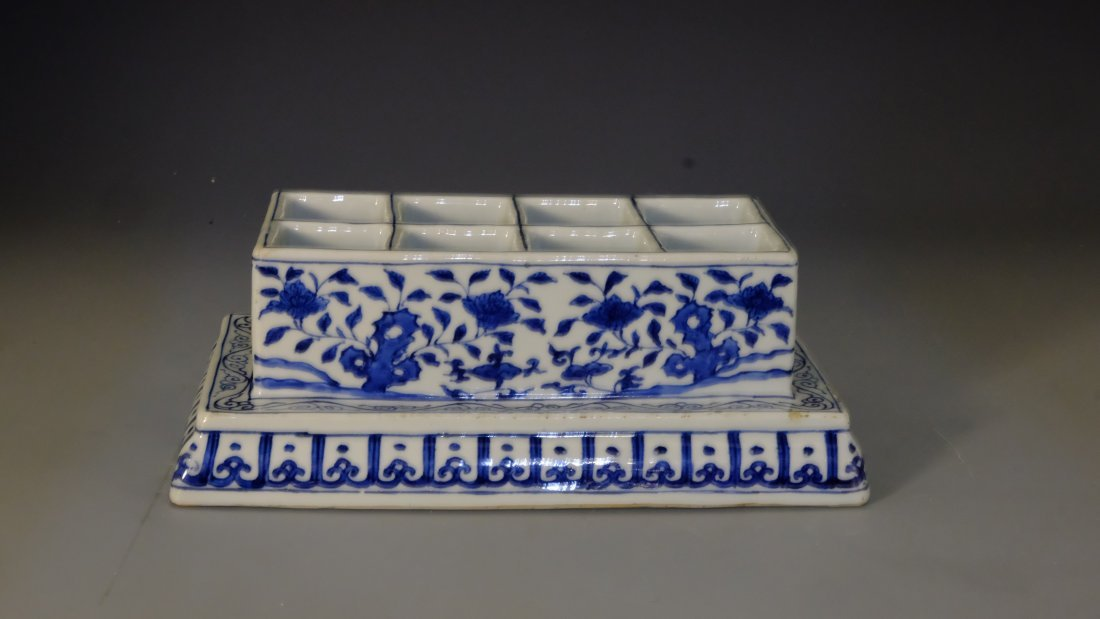 BLUE & WHITE FLOWER BOX WITH MING JIA JING MARK - 2