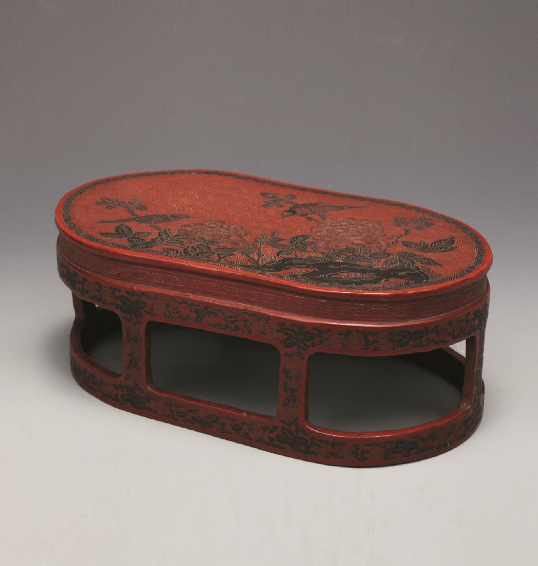 QING DYNASTY RED LACQUERWARE FLOWER & BIRD TABLE