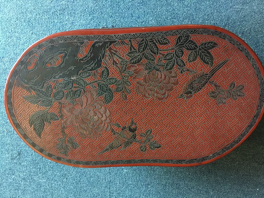 QING DYNASTY RED LACQUERWARE FLOWER & BIRD TABLE - 3