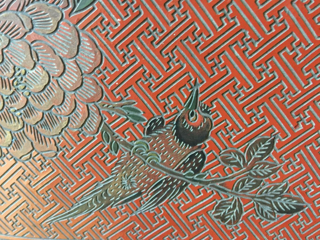 QING DYNASTY RED LACQUERWARE FLOWER & BIRD TABLE - 4