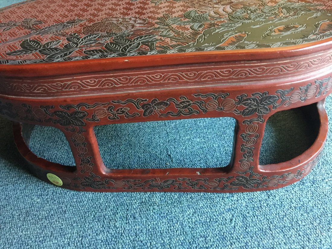 QING DYNASTY RED LACQUERWARE FLOWER & BIRD TABLE - 5