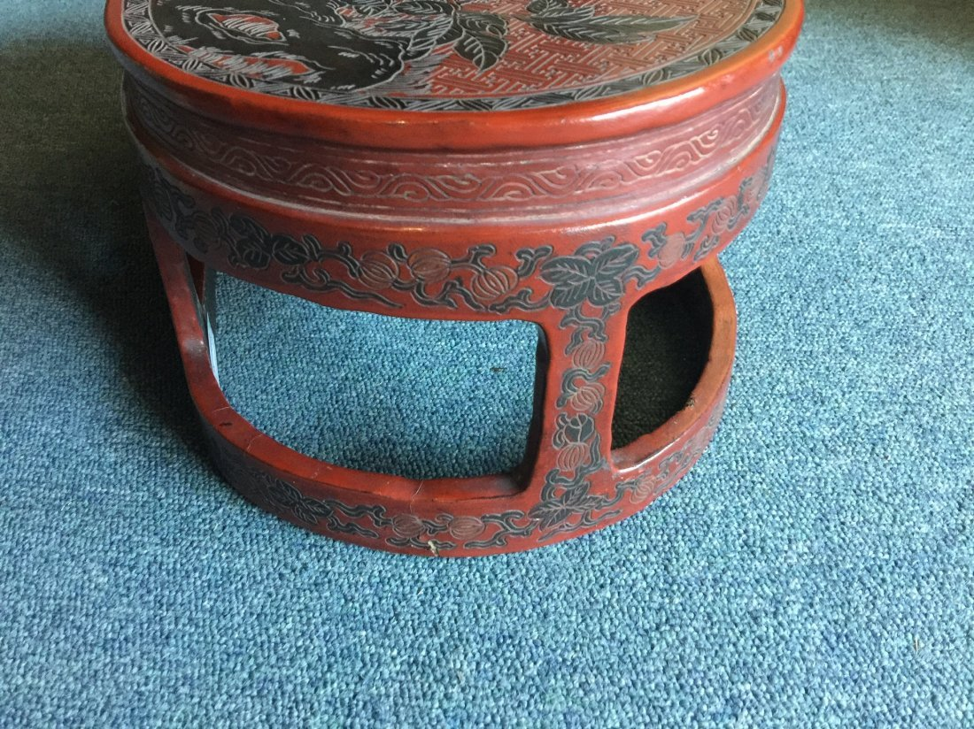 QING DYNASTY RED LACQUERWARE FLOWER & BIRD TABLE - 6