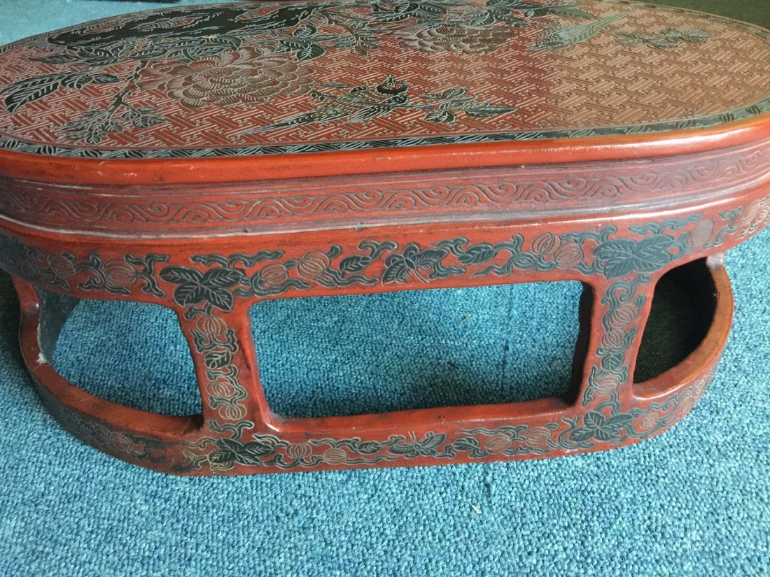 QING DYNASTY RED LACQUERWARE FLOWER & BIRD TABLE - 7