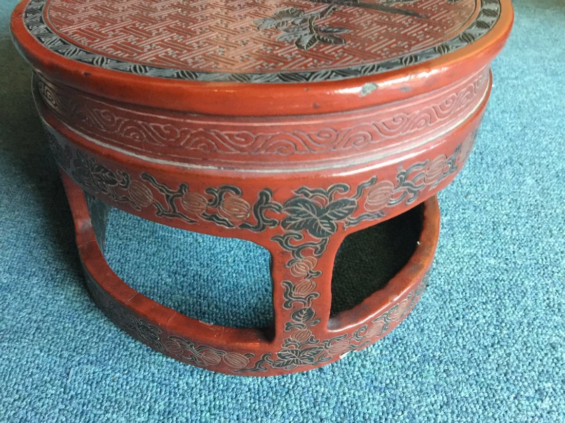 QING DYNASTY RED LACQUERWARE FLOWER & BIRD TABLE - 8