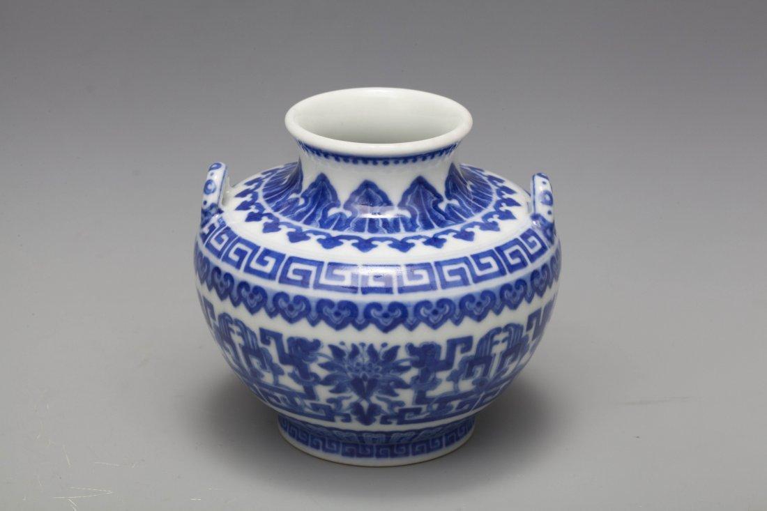 QING QIANLONG BLUE & WHITE DRAGON VASE - 2