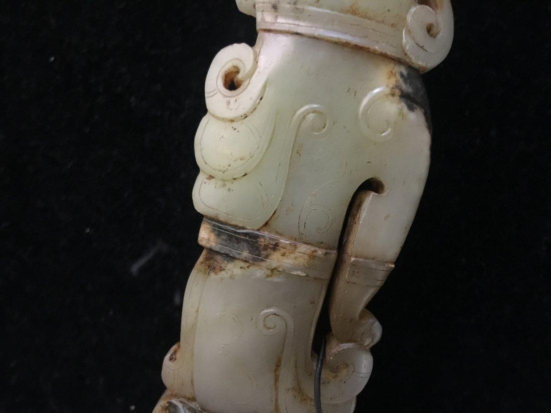 HAN DYNASTY WHITE JADE DRAGON HOOK - 8