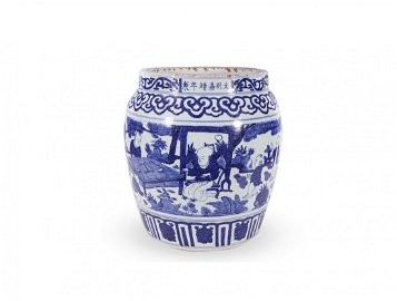 MING DYNASTY JIA JING BLUE & WHITE FIGURE PAINTING TANK