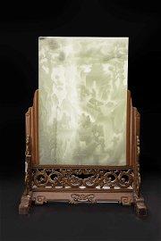 QIANG QIANLONG IMPERIAL HETIAN WHITE JADE FIGURE PLAQUE