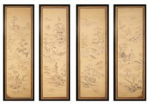 Four Chinese Imperial Silk Landscape Qing Kangxi Period