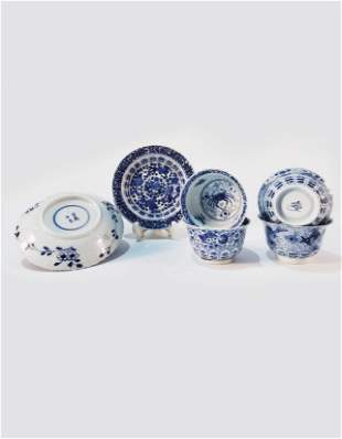Set of Chinese Blue and White Cup Qing Kangxi