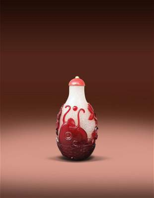 A Chinese Red Glass Fish Snuff Bottle Qing Qianlong
