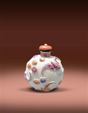 A Chinese Famille Rose Bat Snuff Bottle Mid Qing