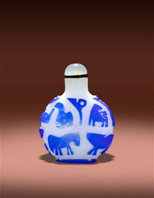 A Chinese Snow Grounded Blue Glass Zodiac Snuff Bottle