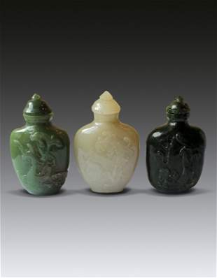 Three Jade Snuff Bottle Qing Dynasty