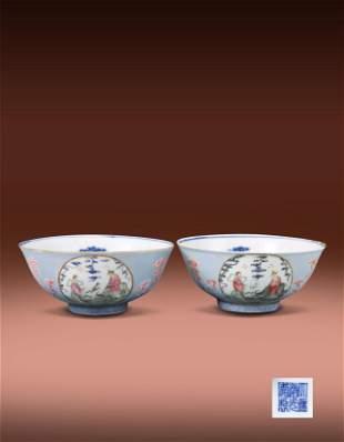 Pair of Famille Rose Figure Bowl Da Qing Daoguang Mark