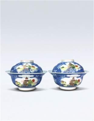 Pair of Famille Rose Bowl Qing Qianlong