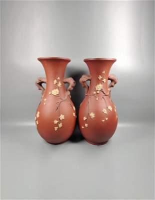 Pair of Yixing Clay Vase Republic of China(1912-1949)