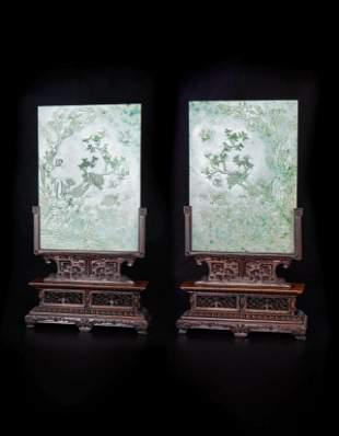 Pair of Jadeite Flower and Bird Screen Qing