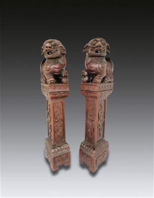 Pair of Chinese Suanzhi Wood Well Carved Lion Stick