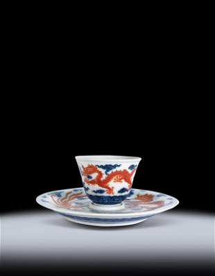 Two Chinese Copper Red Dragon Phoenix Cup and Dish Qing