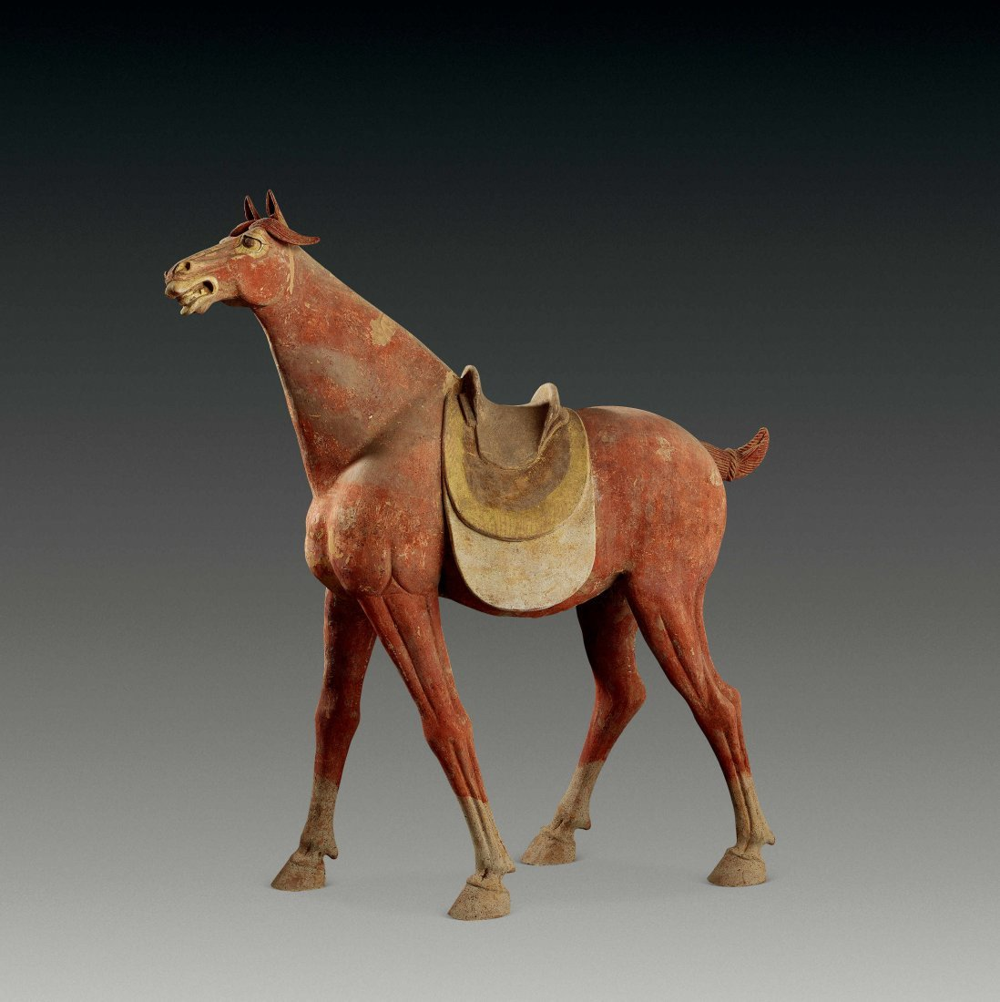 Tang Dynasty Red-colored Pottery of Horse