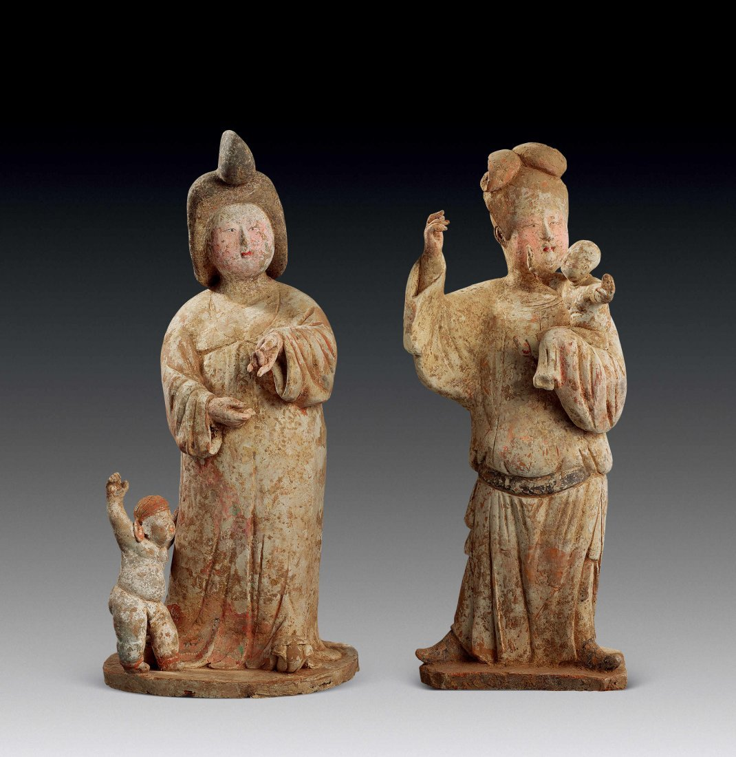Tang Dynasty Pottery Figurines of Beauties Holding