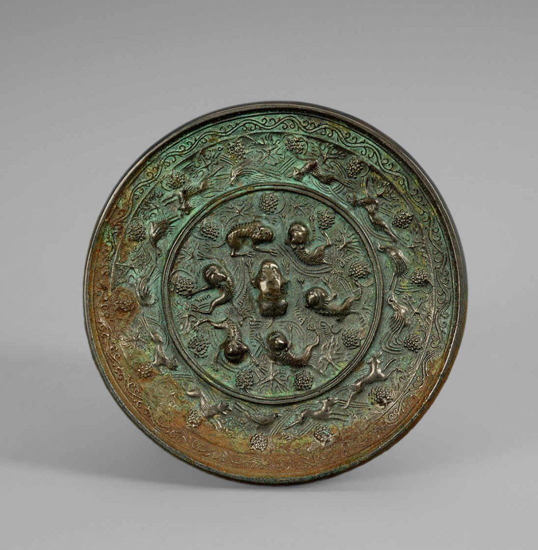Tang Dynasty Copper Mirror with Design of Grape, Bird