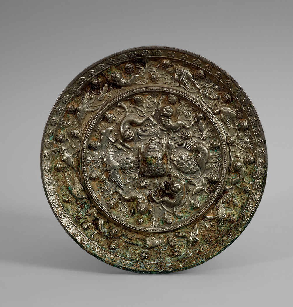 Tang Dynasty Copper Mirror with Design of Grape,