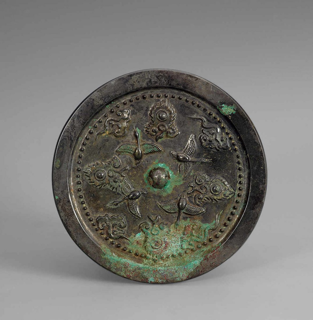 Tang Dynasty Copper Mirror with Design of Crane