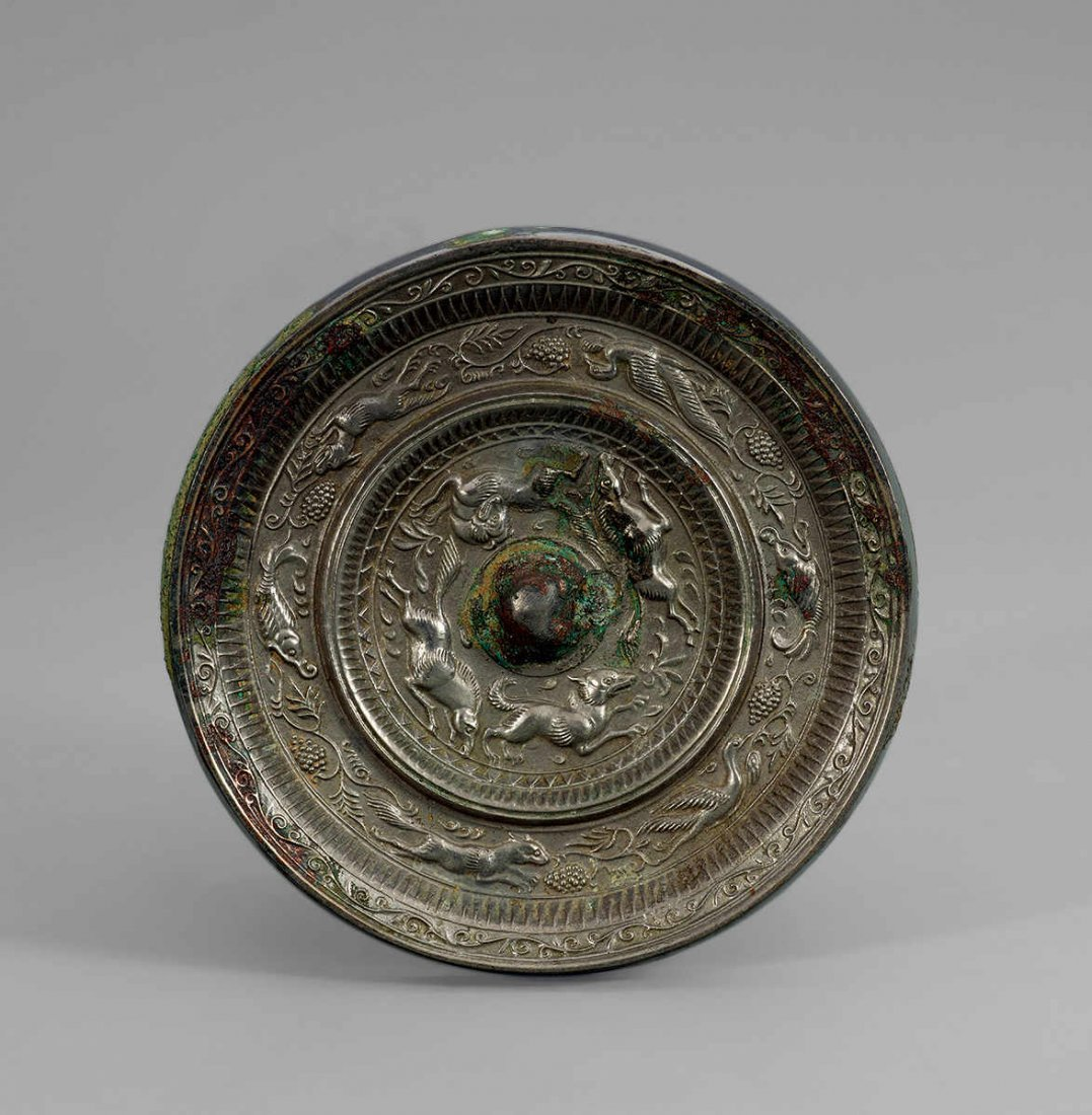 Tang Dynasty Copper Mirror with Design of Grape and