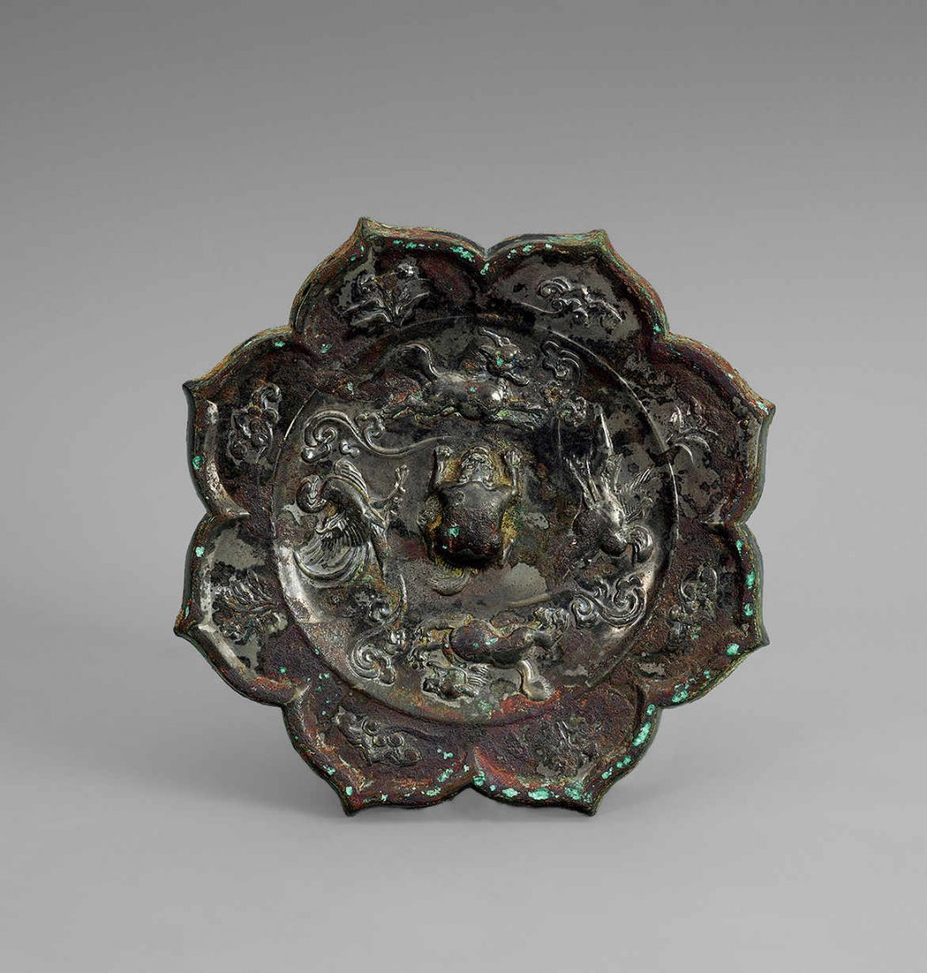 Tang Dynasty Flower Shaped Copper Mirror with Design of