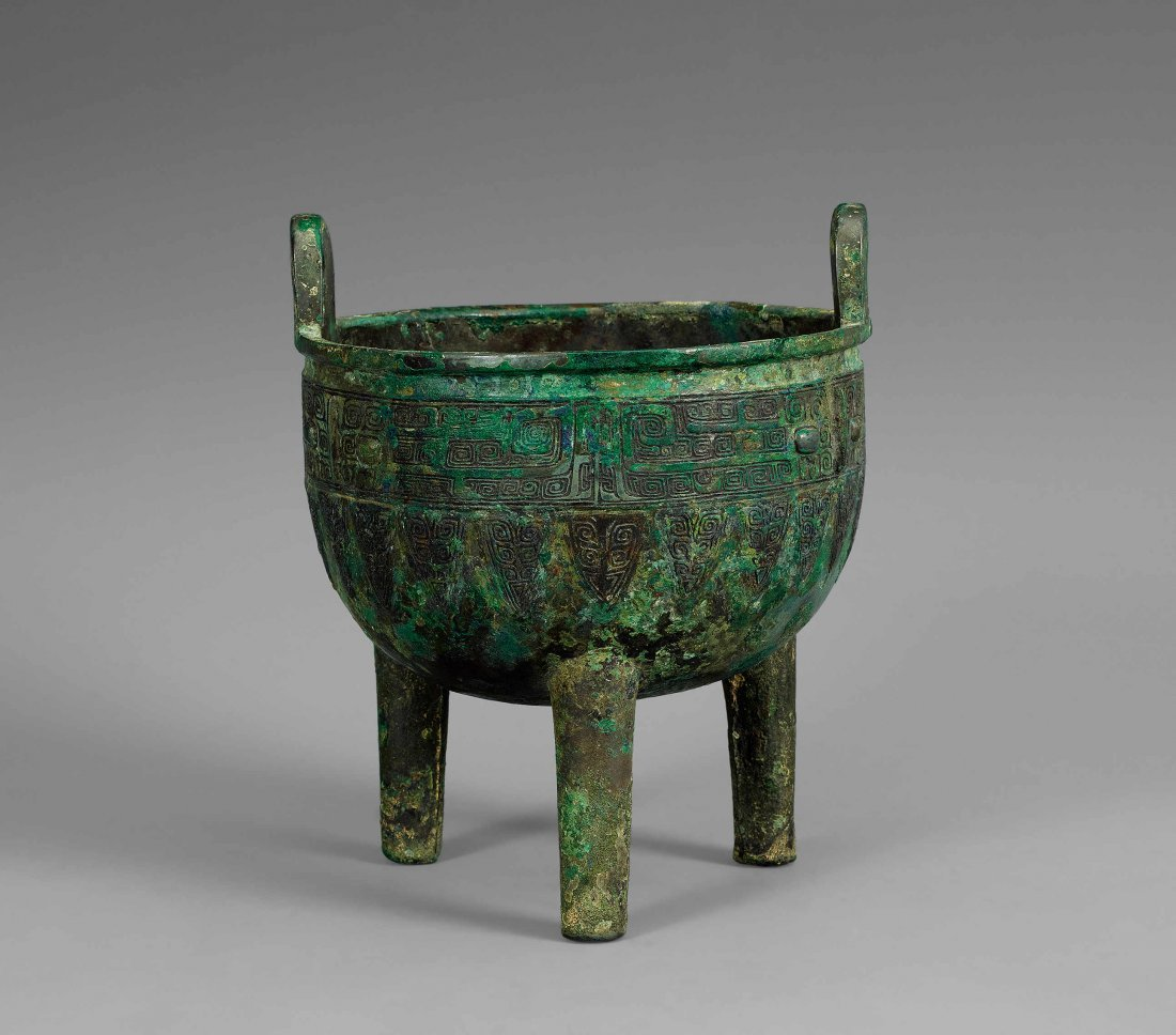 Shang Dynasty Round Bronze Tripod with Design of Beast
