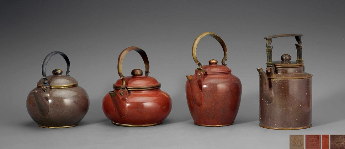Qing Dynasty  Purple Granulated Teapots (One Set)